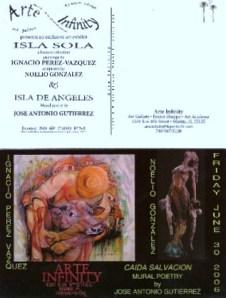 Postales Exposicion de Poesia Mural, entre los textos de Jose Antonio Gutierrez Caballero, pinturas de Ignacio Perez Vazquez, y esculturas de Noelio Gonzalez. Galeria de Arte Infinity, Miami, La Pequena Habana, mayo-junio del 2006.