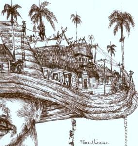 Dibujo para la portada del folleto poético ISLA DE ANGELES, de Josan Caballero.