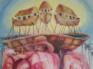 LOS ÁNGELES CARIÁTIDES, de JOSAN CABALLERO, pintados por Ignacio Pérez Vázquez.