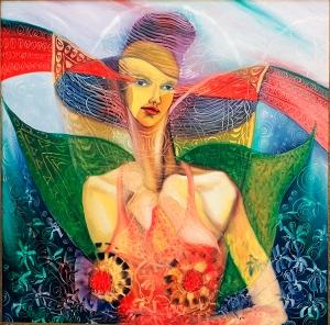 Ángel con alas de mariposa, pintura de Ignacio Pérez Vázquez.
