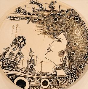 Mujer'Isla, de Ignacio Pérez Vázquez, en la Expo de Poesía Mural, cuyo performance lírico es inaugurado por Josan Caballero, el 26 de mayo del 2006, en la Galería de Arte Infinity, de Miami.