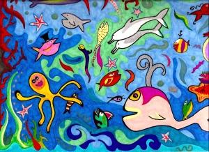 LA PECERA MAGICA, una ilustración de Piero Gemelli, para ser colocada en una de las paredes del Centro Cultural Vocacional Infantil de Miami, que se presenta como uno de los proyectos más loables de este 2009 para ABRACALIBRO International Publishers