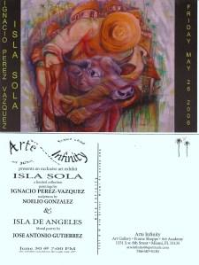 Postal de la Expo de Poesía Mural ISLA SOLA, con pinturas de Ignacio Pérez Vázquez y poemas de José Antonio Gutiérrez Caballero, en el marco de la Galería de Arte Infinity, de la Calle 8, en La Pequeña Habana, de Miami