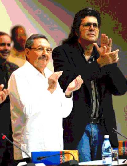 UN POSTER DE ABEL PRIETO Y RAUL CASTRO.