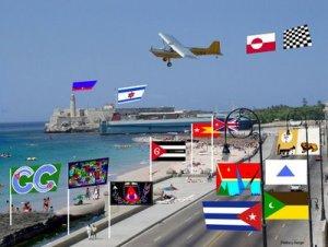 Futuro Malecón con los Papalotes Banderas y la Botella del Mensaje, salvada entre nosotros. Margarita García Alonso.