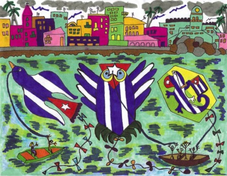 Mis papalotes banderas en La Habana: El Papaloma Cubano, el Papanbúho Habanero y el Papatijo Enamorado, son las tres propuestas de Josán Caballero, junto al PapAve Fénix, que pueden verlo en el dibujo anterior.
