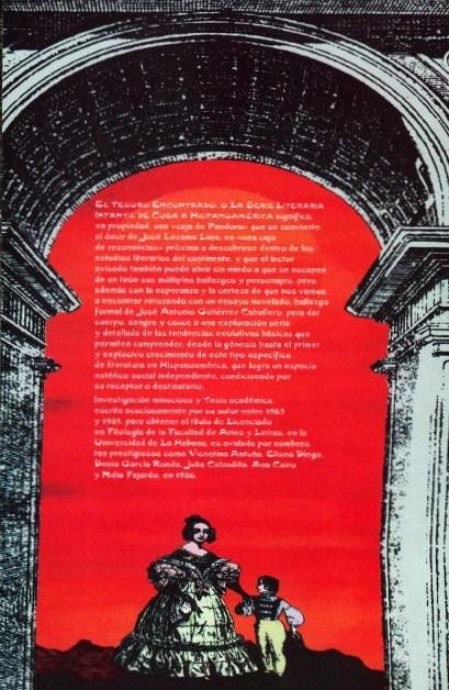 Solapa del libro El Tesoro Encontrado, de José Antonio Gutiérrez Caballero.