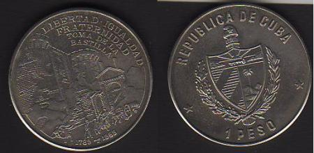 Un peso cubano, en homenaje a La Toma de La Bastilla...