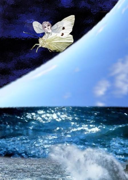 El cielo como el papalote del mar, y viceversa. Margarita García Alonso, para ACUARELA, de Josán Caballero.