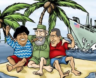 Caricatura de Fidel, Chávez y Evo...