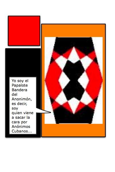 Segunda Versión Macho, del Papalote Bandera, para el Blog de los Anónimos Cubanos, por Piero y Josán, con historieta de Josán Caballero.