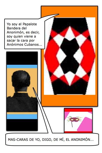 Primera versión hembra, para el Papalote Bandera del Blog Anónimos Cubanos, hecha por Piero y Josán, con historieta de Josán Caballero.