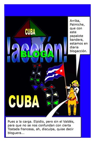 Papalote Bandera del Blog Frente Unido por la Libertad Total de Cuba, de Luis Alberto Ramírez, con historieta de Josán Caballero.