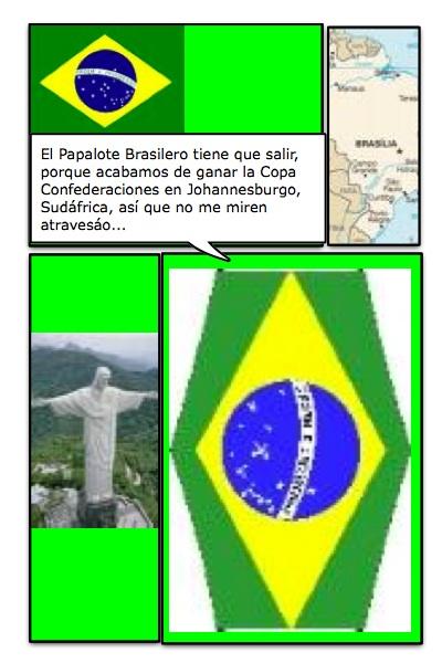 Papalote Bandera de Brasil, ganador de la Copa Confederaciones de la FIFA, disputada con Sudáfrica, desde Johannesburgo, con historieta de Josán Caballero.