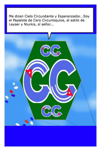 Papalote Bandera de Cero Circunloquios, del Blob del mismo nombre, que pertenece a Ley Martínez y Niurkis Palomino, con historieta de Josán Caballero.