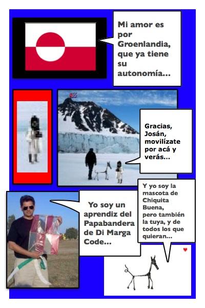 Papalote Bandera de Di Marga Code, conformado por Piero y Josán, a partir de los motivos de Margarita García Alonso, con historieta de Josán Caballero.