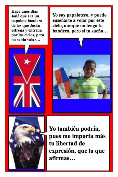 Propuesta de Papalote Bandera para el Blog Cubainglesa, de Armando Añel, hecha por Piero y Josán, con historieta de Josán Caballero.