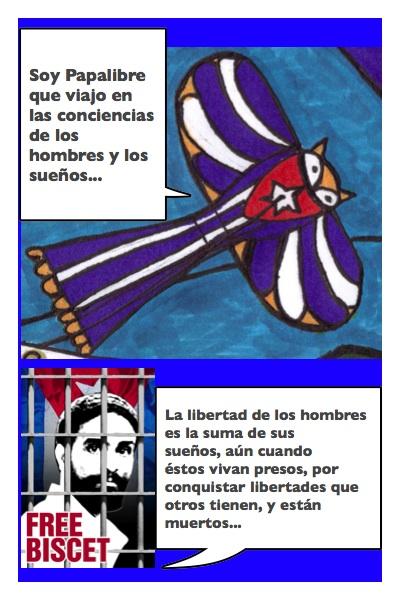 Papalibre por Oscar Biscet, historieta de Josán Caballero, con diseños de Piero Gemelli.