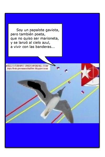 Papalote Bandera de Todos Unidos por una Cuba Libre, de un grupo de autores, en especial, Julia, con historieta de Josán Caballero.