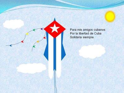 PAPALOTE POR LA LIBERTAD Y DEMOCRACIA DE CUBA, de Inés de Cuevas, un bello regalo para Josán Caballero.