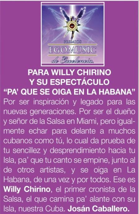 El premio que le entrega la Revista BRUJULAR DE MIAMI, a Willy Chirino, a través del artículo de Leyser Martínez, incluído en el primer número, que está en la calle el fin de semana que viene.