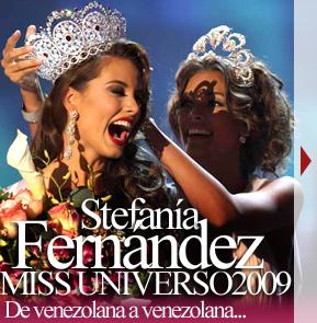 Stefanía Fernández recibe la corona de Miss Universo 2008, Dayana Mendoza, otra Miss Venzuela.