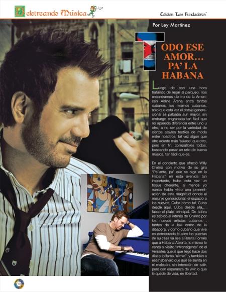 La página que inicia el artículo sobre el concierto de Willy Chrino, en el Arena Airlines, escrito por Leyser Martínez, del Blog Cero Circunloquios, y cedido especialmente para la Revista BRUJULAR DE MIAMI, de Josán Caballero.