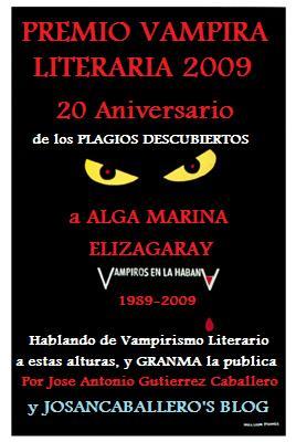 Premio Vampira Literaria de Josan Caballero, a Alga Marina Elizagaray.