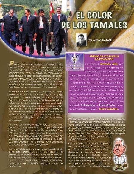 Una página de la Revista BRUJULAR DE MIAMI, en donde se le otorga el Premio EGO de Excelencia al periodista Armando Añel, del Blog CUBA INGLESA.