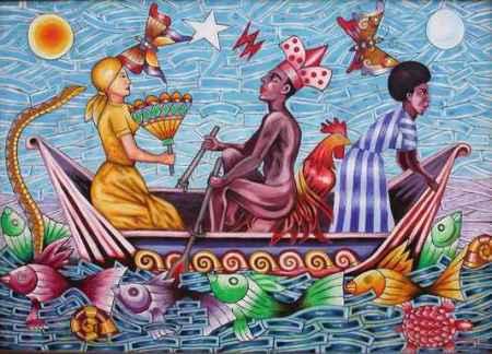 Del pintor Eliades, tres de los santos, Chango, al centro, Ochún y Yemayá, a ambos lados.