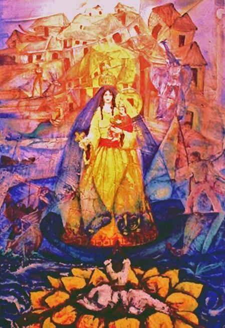 Caridad de los Balseros, óleo de Ignacio Pérez Vázquez, con textos de José Antonio Gutiérrez Caballero, en la Expo de Poesía Mural ISLA SOLA, inaugurada el 26 de mayo del 2006, en la Galería de Arte INFINITY.
