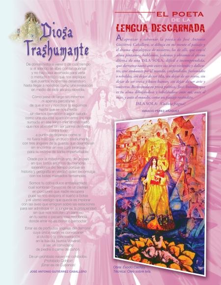 Página de la Revista BRUJULAR DE MIAMI, en donde aparecen poemas del performance Isla de ángeles, que preparó Josán Caballero, para la Expo de Poesía Mural, que obtuviera el PREMIO EGOMURAL de Excelencia, entre poesía, pintura y escultura.