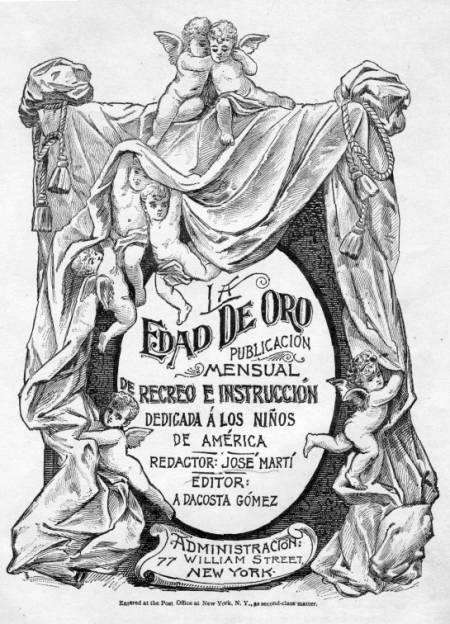 Portada Anunciadora de LA EDAD DE ORO, de José Martí, 1889.