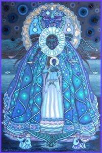 Pintura de Yemayá, que se expone en Zu Galería...
