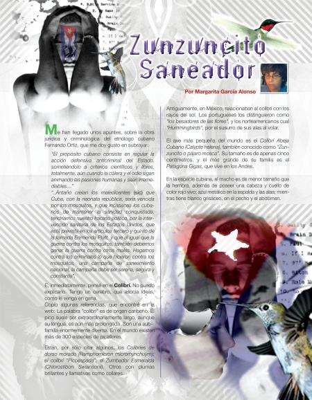 Página diseñada del artículo Zunzuncito saneador, de Margarita García Alonso. Obsérvese la calidad en el diseño y las bellezas de las imágenes, aportadas por la poeta y pintora.