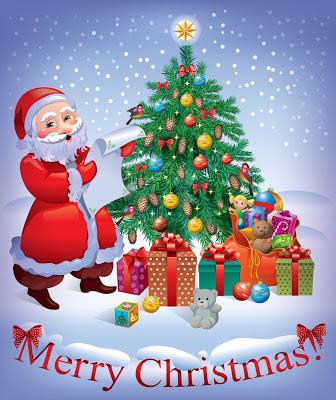 santa-claus-y-pinito-de-navidad-con-adornos-y-regalos-tarjeta