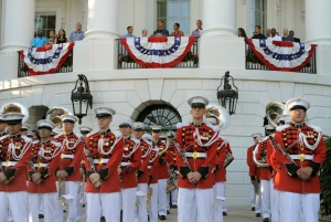 President Obama and First Lady Michelle welcome military families to White House for Independence Day