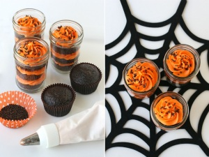 Halloween cupcakes side by side