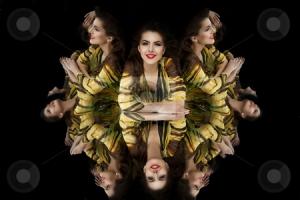 brunette girl kaleidoscope mirror