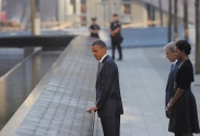 (L-R) US President Barack Obama, former US President George W. Bush and US First Lady Michelle Obama and visit the 9/11 memorial on September 11, 2011 in New York on the 10th anniversary of the 9/11 attacks. AFP PHOTO/Mandel NGAN (Photo credit should read MANDEL NGAN/AFP/Getty Images)